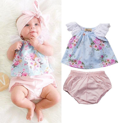 2Pcs/Set Newborn Baby Girls Outfits Floral Lace Butterfly sleeves Tops T-shirt+ Shorts Pants Outfits Clothes Set