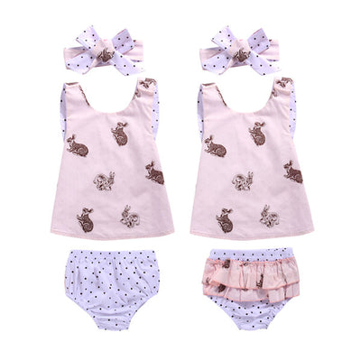 3Pcs/Set ! Summer Kids Baby Girls Outfits Clothes Sleeveless Chest cross +Polka Dot Shorts +Headband 3PCS Set