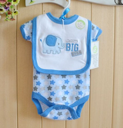 Baby Clothes New For Summer Newborn Boys Bodysuit Cartoon Short Sleeve Clothes Body Suit with Bib 2 Piece Clothing Set