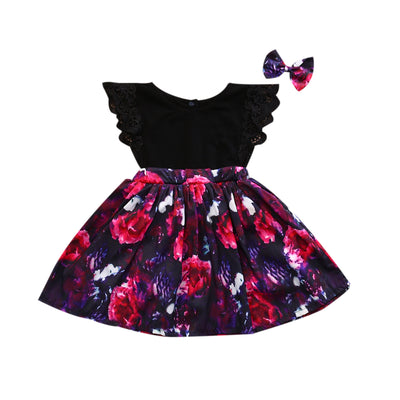 Flower Kid Baby Girl Princess Party Pageant Wedding Dress Lace Sleeve Floral Dresses With Headband