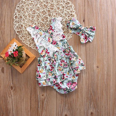2Pcs/Set Summer Toddler Kid Baby Girl Clothes Sleeveless Floral Romper Outfits Set Lace Jumpsuit Sun-suit  A