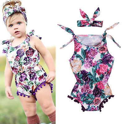 2Pcs/Set Cute Newborn Baby Girl Floral Tassel Ball Romper+ Headband Outfits Floral Sun-suit Clothes