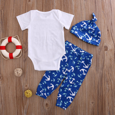 3Pcs Cute Infant Baby Girl Boy daddy new fishing buddy Tops T-shirt+Pants Leggings Hat 3pcs Outfits Set