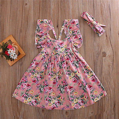 Summer Toddler Girls Kids Flower Butterfly sleeves Tutu Dress Cotton Backless Clothing Sundress Dress