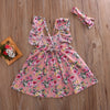Girls Kids Flower Butterfly sleeves Tutu Dress Cotton Backless Clothing Sundress Dress