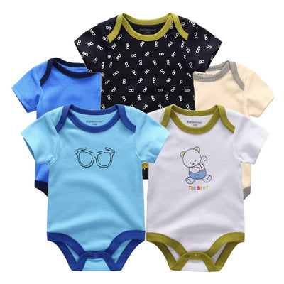 5 Pcs Lot Baby Boys Cute Character Short Clothing Newborn Set Summer Style 100% Cotton