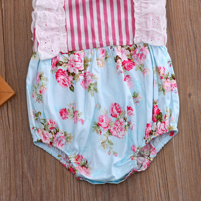 Newborn Toddler Baby Girl Floral Striped Patchwork Romper Jumpsuit One-Piece Sun suit Clothes
