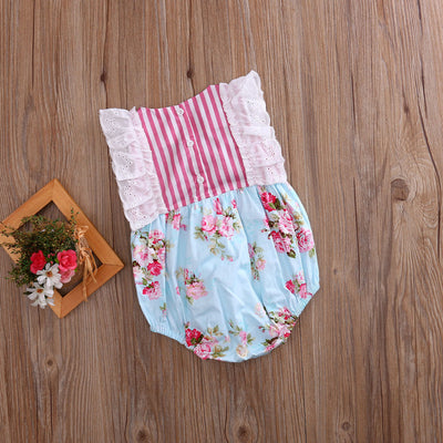 Summer Lace Ruffle Newborn Toddler Baby Girl Floral Striped Patchwork Romper Jumpsuit One-Piece Sunsuit Clothes