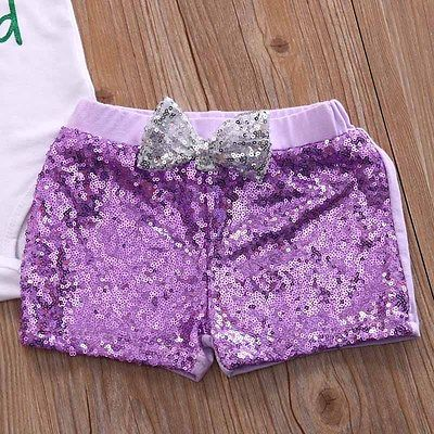 3pcs Toddler Infant Baby Girl Romper+Sequins Shorts Outfits 3pcs Sequins Headband Clothes Set