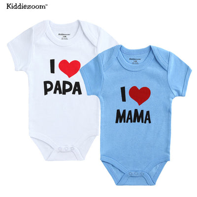 Newborn Baby Boy Clothes Set I love Mama Papa Design Printing baby Girl Clothing Rompers Set
