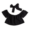 Kids Baby Girls Off Shoulder Pure Color T-shirt Outfits Sunsuit Ruffle Clothes +Headband Hot red