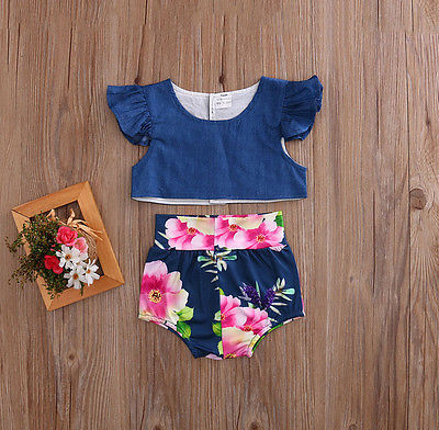 2pcs/Set Toddler Infant Baby Girls Floral Cowboy Flying Sleeve Tops+Bottoms Briefs Outfits Set Clothing