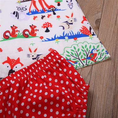 3Pcs Set Baby Clothing Sets Infant Kids Toddler Baby Girl Zoo Dresses+Bottoms +Headband Outfit Clothes Set