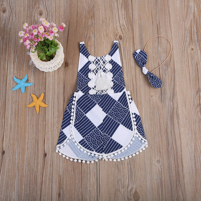 2pcs/Set Lace Toddler Baby Girls Geometric Romper Tassel Backless Jumpsuit Outfits Clothes Summer 0-4T