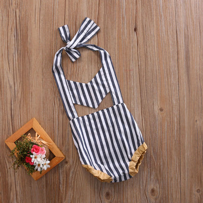 Newborn Baby Kids Girls Stripe Cute Hollow-Out  Romper Sleeveless Halter Jumpsuit Outfit Clothes