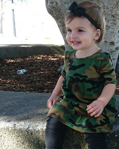 Kids Baby Girls Clothing Army Green Camouflage Casual Short Sleeve Loose Dress