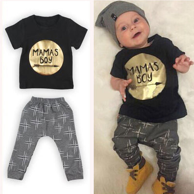 2Pcs Newborn Toddler Baby boys girls Infant Clothes Golden Letter Mamas Boys Printed Outfit Clothing Sets 0-24M