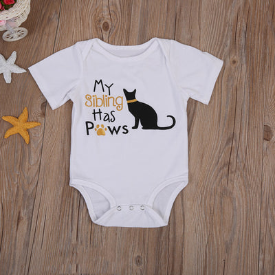 Newborn Baby Girl Cartoon Clothes Cotton Cat Romper Short Sleeve Jumpsuit  Sunsuit Outfit