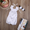 White Baby Girl Anchor Ruffles Romper Sleeveless Halter Jumpsuit Outfits With Headband Sun suit