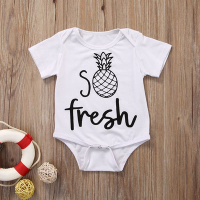 Newborn Baby Boy Girl Kids Fresh pineapple Romper Short Sleeve Cotton Jumpsuit Clothes Outfit