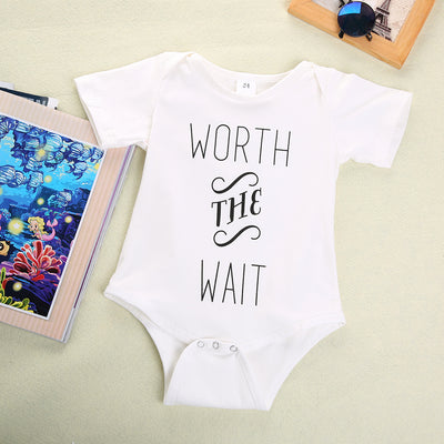 Summer Newborn Boys Girls Cotton Quote Print Romper Playsuit Outfits Costume