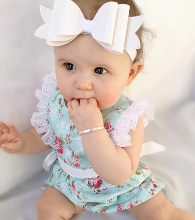 0-24Months Baby Girl Lace Floral Romper Butterfly Sleeve Jumpsuit Outfits Sun-suit Clothes