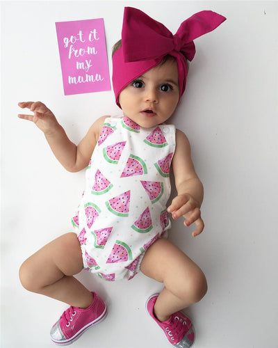 Newborn Baby Girl Romper Clothes Summer Sleeveless watermelon Backless Jumpsuit +Headband 2PCS Outfits Sunsuit