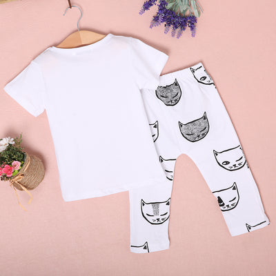New Baby Girls Boys White T-shirt Tops Cat Pants Leggings Boy Clothing