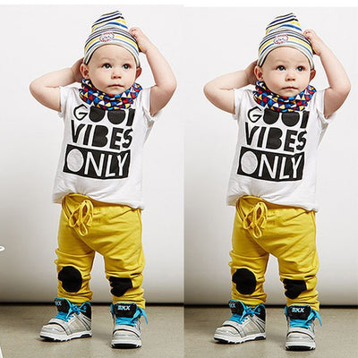 Kid boys clothes set Cotton  Baby Boy Letter T-shirt Tops+ Yellow Long Pant Trousers Outfits Clothing