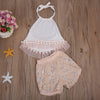 2pcs Baby Clothing Set Newborn Kids Baby Girl Sleeveless Tassel Ball Halter Tank Top+ Floral Shorts Clothes Outfit