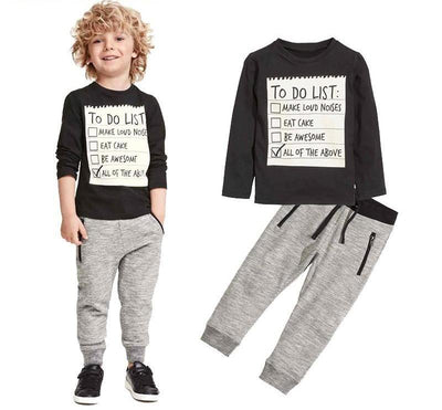 Baby boy clothes New Dark Grey long sleeve t-shirt + casual long pants suit kids clothes