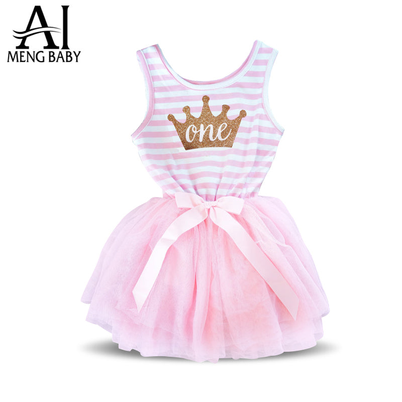 196b57782 Girl Stripe One Two Crown Kids Dresses For Baby Girl Infant Party ...