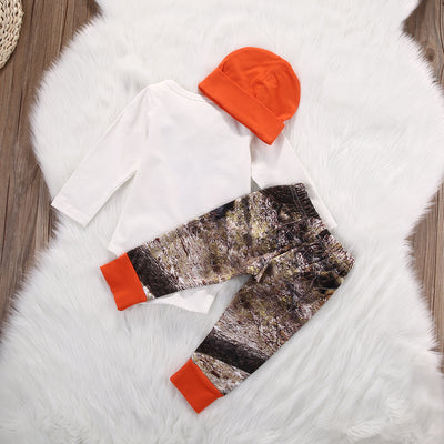 Autumn baby boy clothing sets Newborn Baby Boy Girl Deer Romper Pants Legging Hat 3pcs Outfits Set Costume