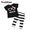 Summer Cute Glasses Kids Clothes Sets Short Sleeve T-shirt Stripe Pants Clothing Set born Sport Suits Baby Boy Clothes