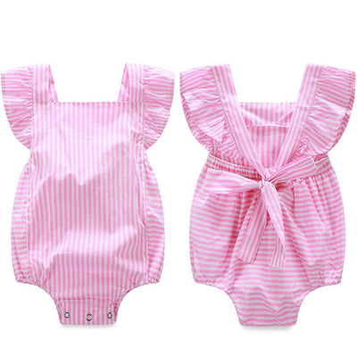 Baby infant girl Newborn baby clothes Striped cotton suspenders sleeveless rompers suits