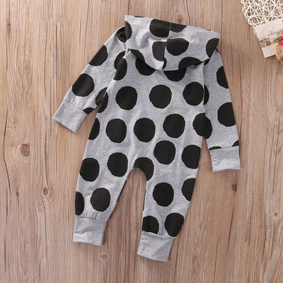 Newborn Infant Baby Boys Girls Polka Dot Romper Long Sleeve Hooded Jumpsuit Clothes Outfit CA