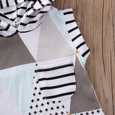 Newborn Baby Girl Clothes Xmas Hooded Geometric Long Sleeve Romper Playsuit Jumpsuit Outfits