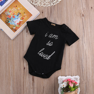 Newborn Baby Boys Girls Clothing Short Sleeve Letter Printed Romper Jumpsuit Outfits Set 0-24M