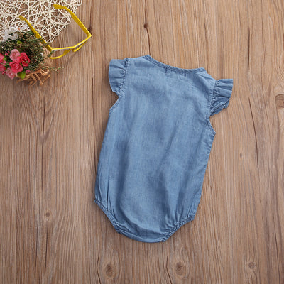 Summer Newborn Infant Baby Girls Denim Romper Lotus sleeve Jumpsuit Clothes Playsuit Outfit