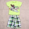 Baby Boy Clothes Summer Cartoon Dog Print Baby Clothing Suit Short Shirt Plaid Pants Infant Clothes Set Green