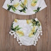 Baby Girls Clothing Set Infant Baby Girl Off Shoulder Tube Top +Tassel Shorts +Headband  Beach Outfits 3PCS set