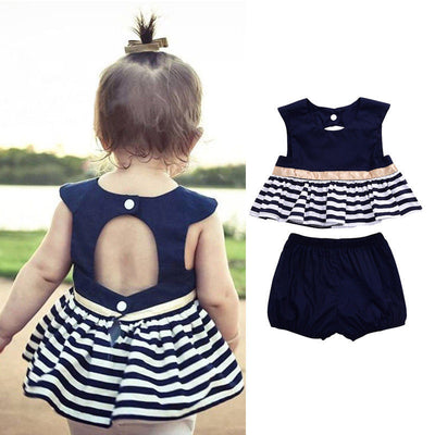 2pcs Newborn Baby Clothing Baby Girls Summer Outfit Striped Navy Blue Top+ Bloomers Clothes