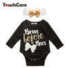 born Infant Baby Girl Romper Letters Print Long Sleeve Baby Rompers + Bows Headband Baby Clothes