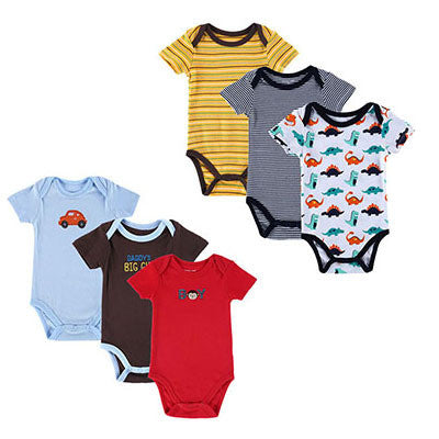 6 Pieces Baby Romper Baby Body Short Sleeve 100% Cotton Cartoon Style Newborn Boy Girl's Jumpsuit Baby Clothing