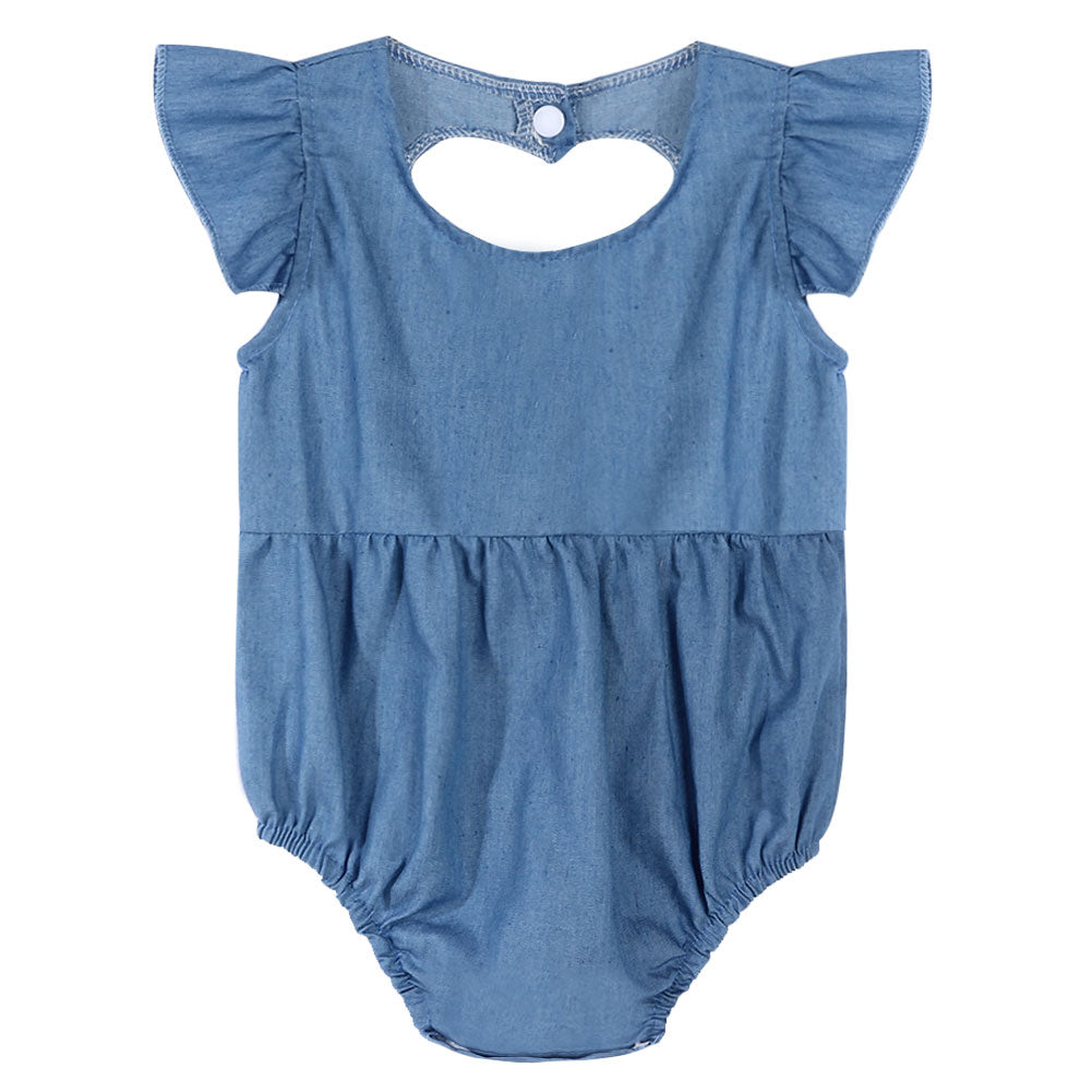 f5a536c83b0f Cute Newborn Baby Girl Romper Clothes Infant Denim Rompers Back Heart  Hollow Jumpsuit Sun suit Outfits