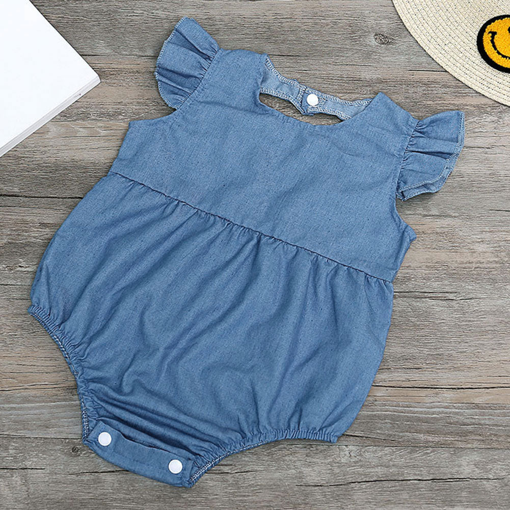 52d0bee5fc6 Cute Newborn Baby Girl Romper Clothes Infant Denim Rompers Back Heart  Hollow Jumpsuit Sun suit Outfits