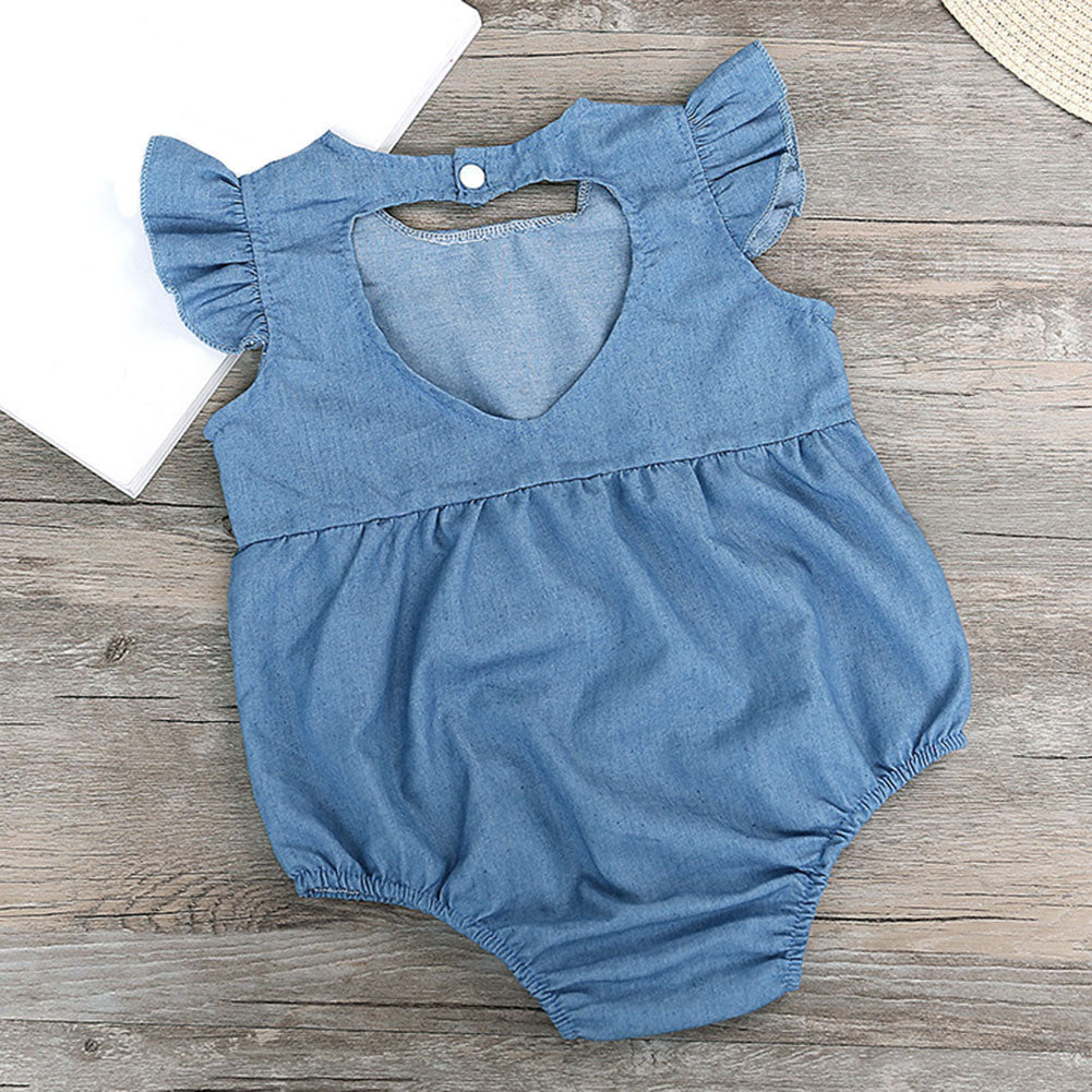 80fe2430e2ef Cute Newborn Baby Girl Romper Clothes Infant Denim Rompers Back ...