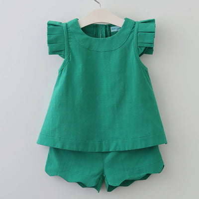 Girls Clothing Sets Girls Clothes Summer Sleeveless Green Solid T-shirt+Shorts for Girls Suits