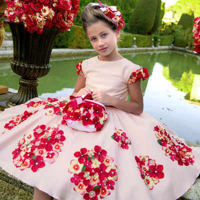 Girls Party and Wedding Dresses Summer Kids Clothing Princess Dress with Sashes Floral Print Children Costume