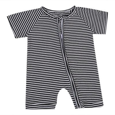 Newborn Baby Boys Girl Clothing Striped Short Sleeve Romper Zipper Clothes Jumpsuit Outfit